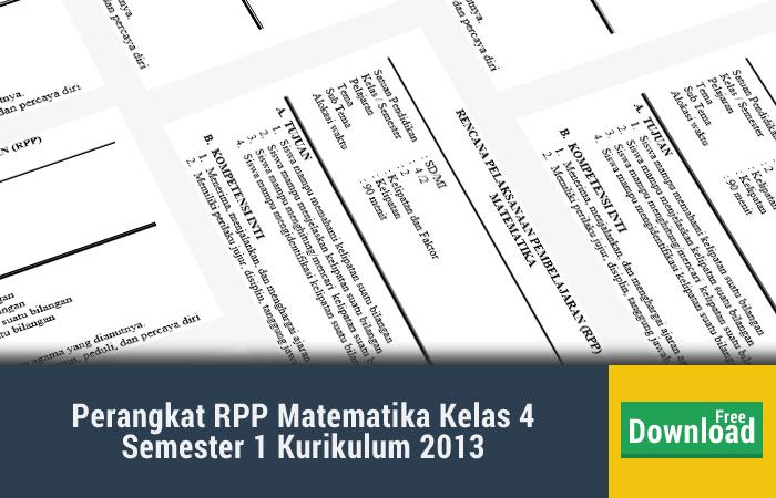 Perangkat RPP Matematika Kelas 4 Semester 1 Kurikulum 2013
