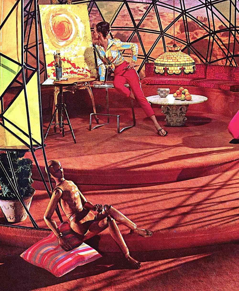 1964 retrofuture home interior in a geodesic dome