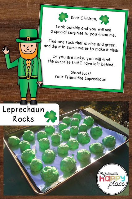 A leprechaun stands beside magic leprechaun rocks made of baking soda and a rhyming note