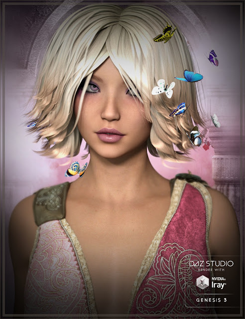 Mariposa Hair for Genesis 3 Female