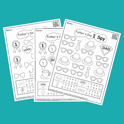 Father's day I Spy game easy level free printable preschool coloring pages ,learn numbers and counting for kids,jpg and pdf