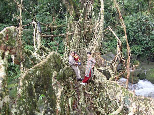 Along with my Wife & daughter on Living Root Bridge