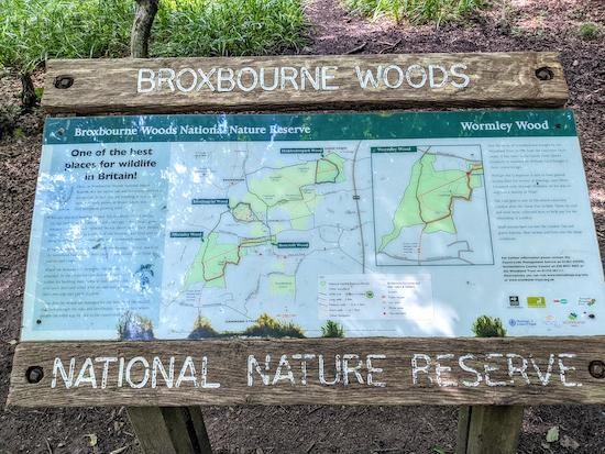Broxbourne Woods National Nature Reserve sign