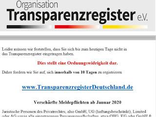 yourIT Datenschutz-Team warnt vor Betrugsversuch durch Fake-Transparenzregister e.V.