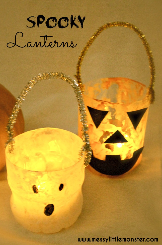 halloween lantern craft for kids using recylced plastic bottles