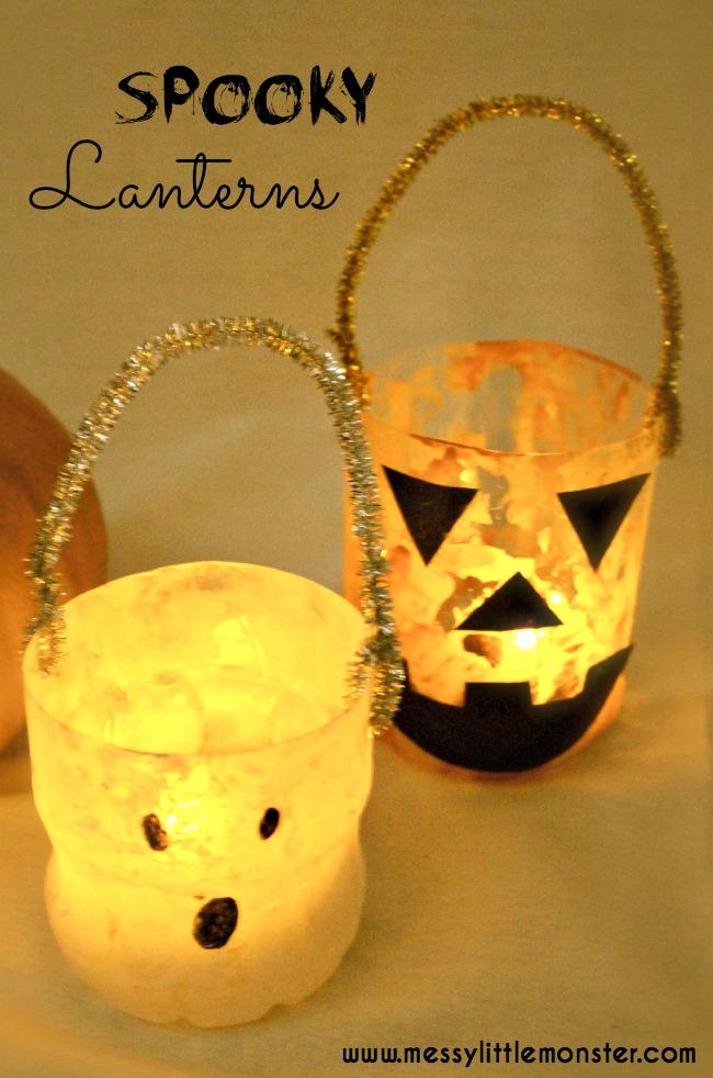 Plastic Bottle Halloween Lanterns  Messy Little Monster