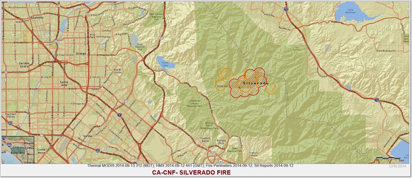 Active Fire Map Silverado Fire