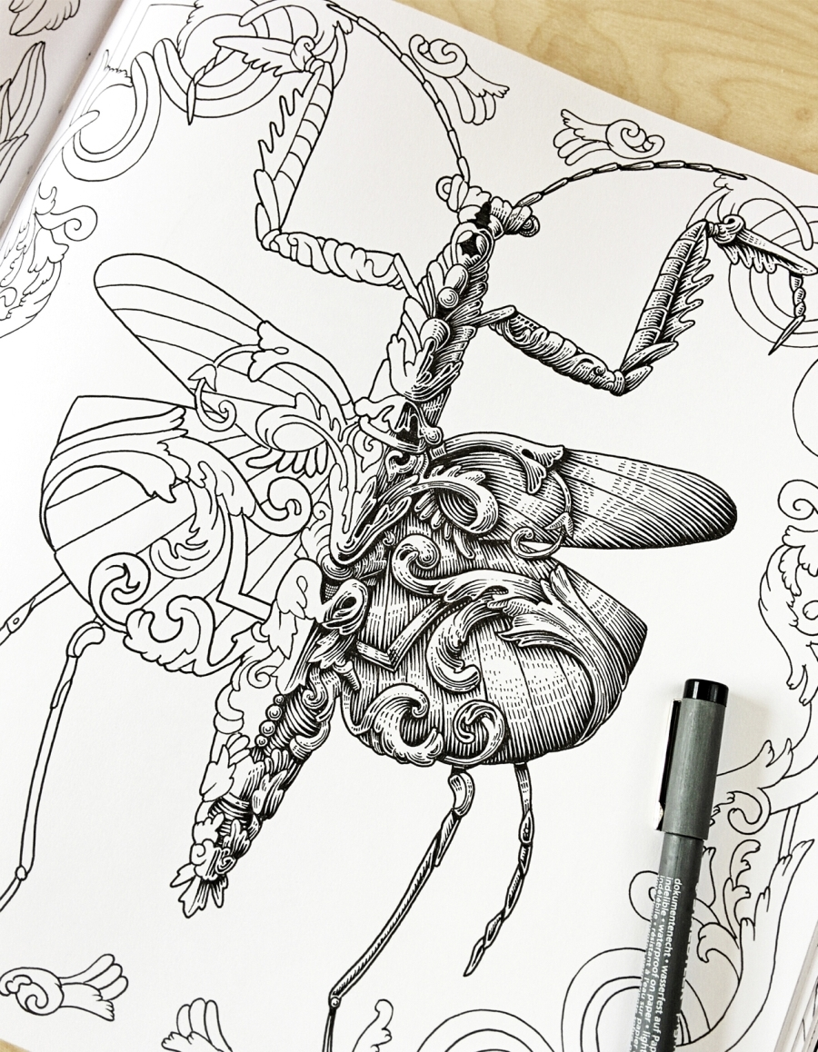 09-Praying-Mantis-Alex-Konahin-Ornate-Details-in-Animal-Drawings-www-designstack-co