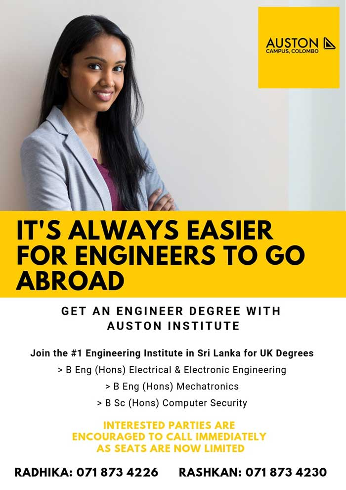 Starting Degree in 2019. Register Early and Save.  Auston Campus, Colombo - School of Engineering  Auston Institute is a private school, founded in 1996, that has been preparing students for careers in Engineering, IT Technology and Project-Management through higher education learning In 2010, Auston Campus Colombo was founded as a BOI company and till today we have produced more than 4000 graduates who have gone on to careers in massive companies in Sri Lanka, Singapore, Australia, New Zealand, the Middle East, and Canada.  #auston #campus #engineering #degree #engineeringdegree #migrate #migration