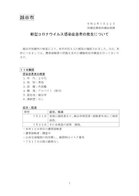 新型コロナウイルス感染症患者の発生について(7月22日発表)