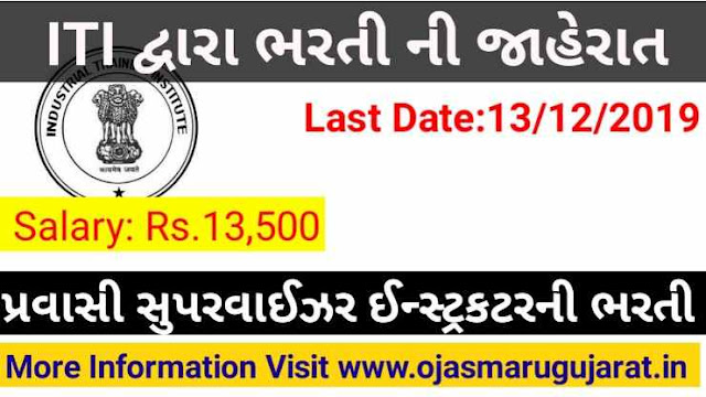 ITI Kapadvanj Supervisor Instructor Requirement 2019