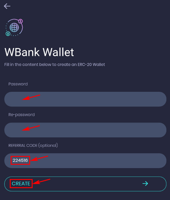 Регистрация в WBank Wallet 2