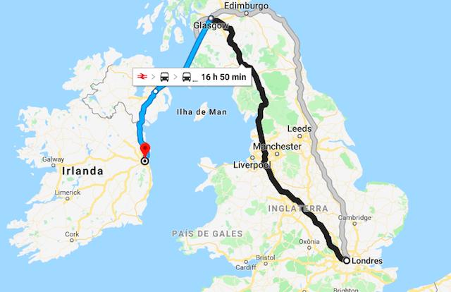 Mapa da viagem de trem de Londres a Dublin