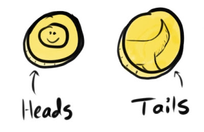 A cartoon coin showing heads on one side and tails on the other side