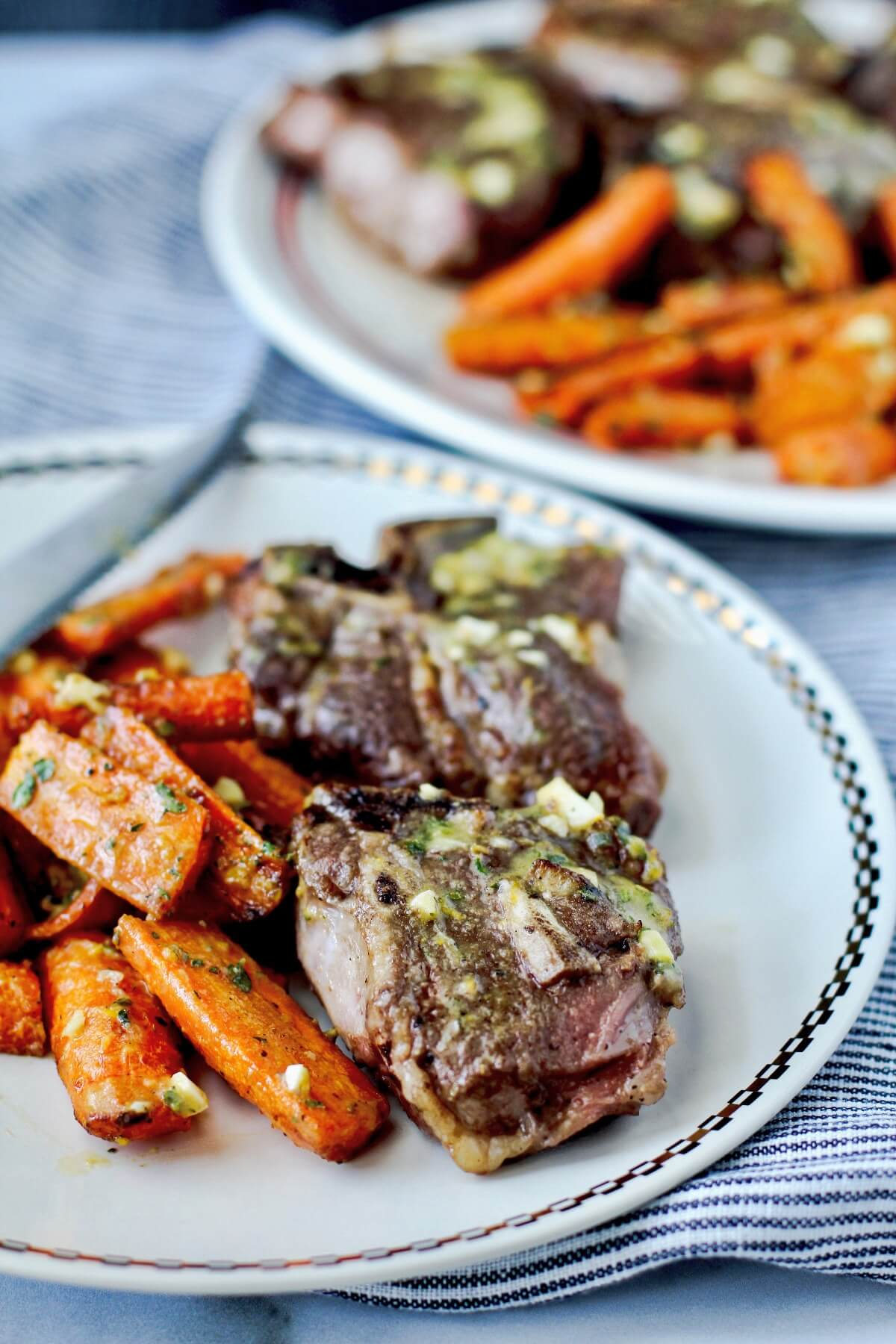 Air fryer lamb chop meal with carrots
