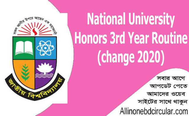National University Honors 3rd Year Routine (change 2020)