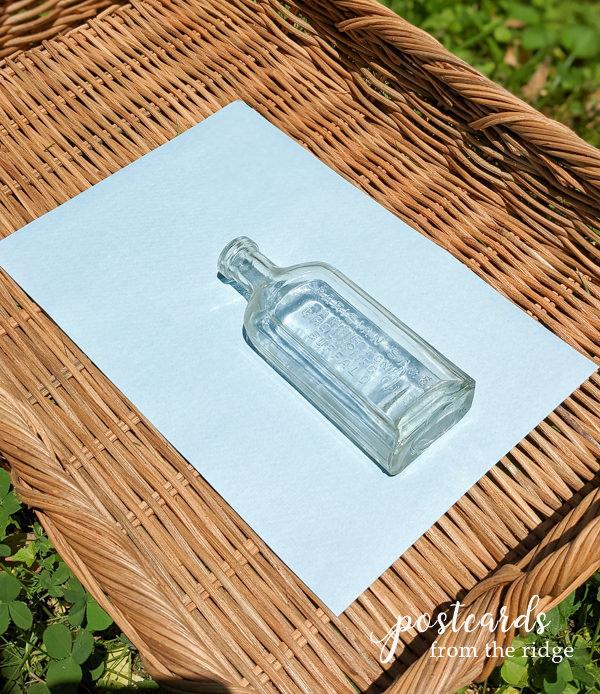 vintage bottle diy sun print process
