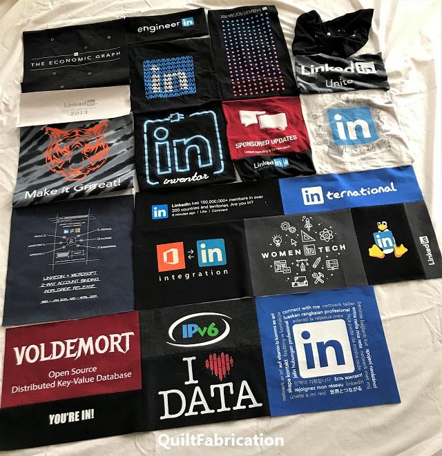 LinkedIn t-shirt quilt in progress