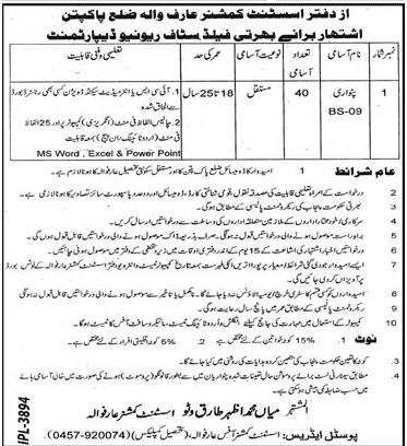 Revenue Department Pakpattan punjab Jobs 2021 in Pakistan