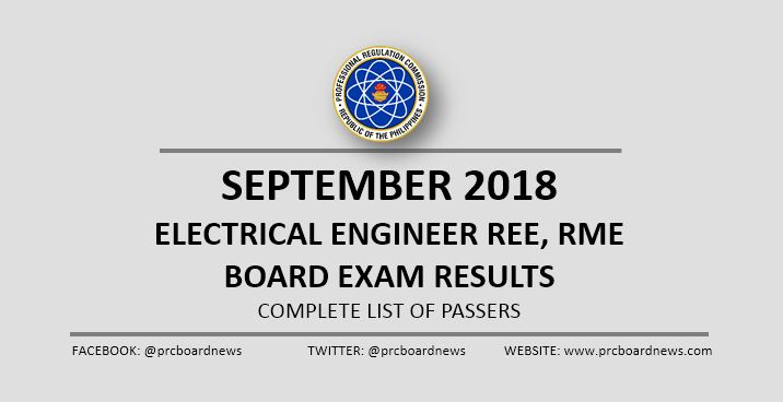 RESULTS: September 2018 Electrical Engineer REE, RME board exam list of passers
