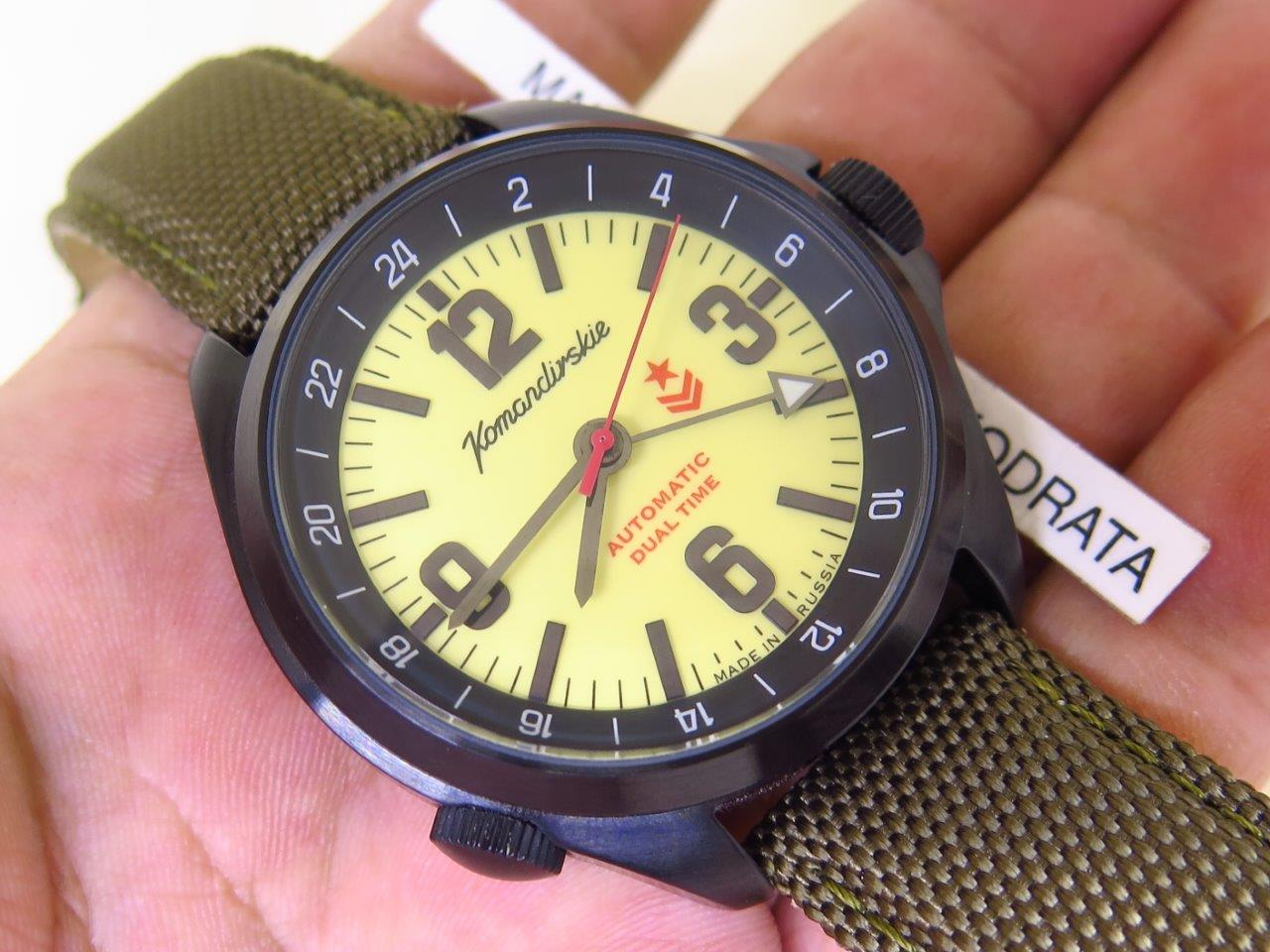 VOSTOK KOMANDIRSKIE LIGHT YELLOW FLUORESCENT DIAL - DUAL TIME - AUTOMATIC CAL.2426.01