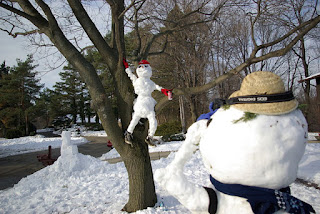 Snow sculptures, snowmen, snowman ideas, snow fun, snowy day, snow play