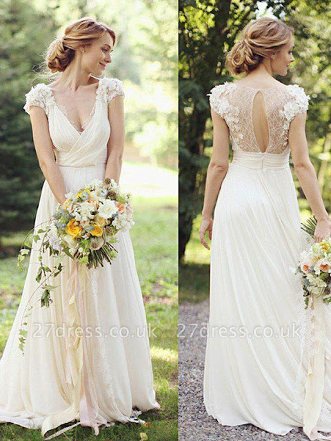 Floor-Length A-Line Ruched V-neck Short Sleeves Wedding Dresses UK