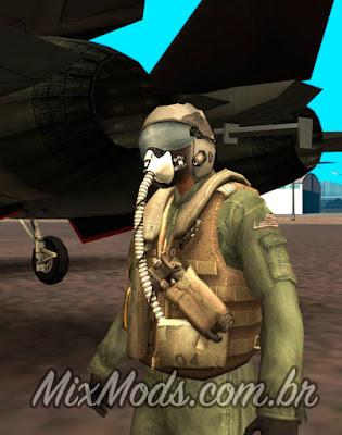 skin piloto avião militar em hd para gta sa