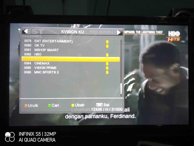 Siaran HBO Hits FTA  K-Vision Ku-Band Gratis