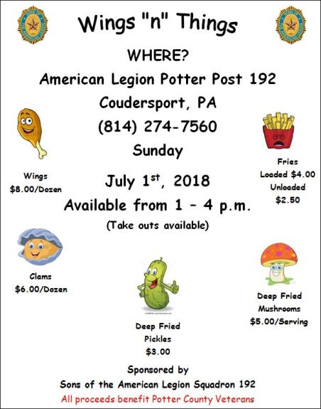 "7-1 ""Wings n Things"" Coudersport Legion"