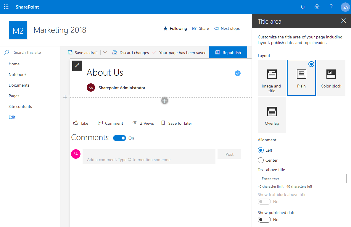 sharepoint online remove top banner
