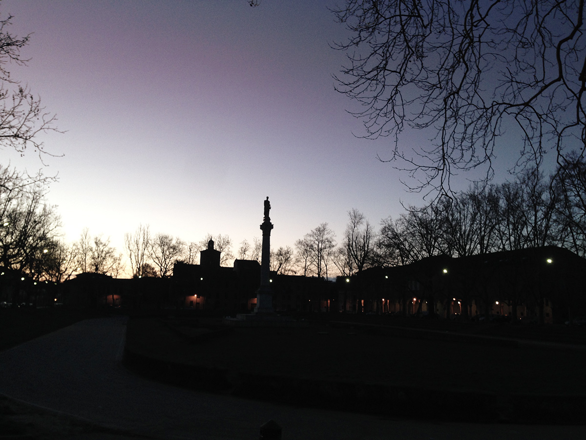 piazza ariostea at dawn