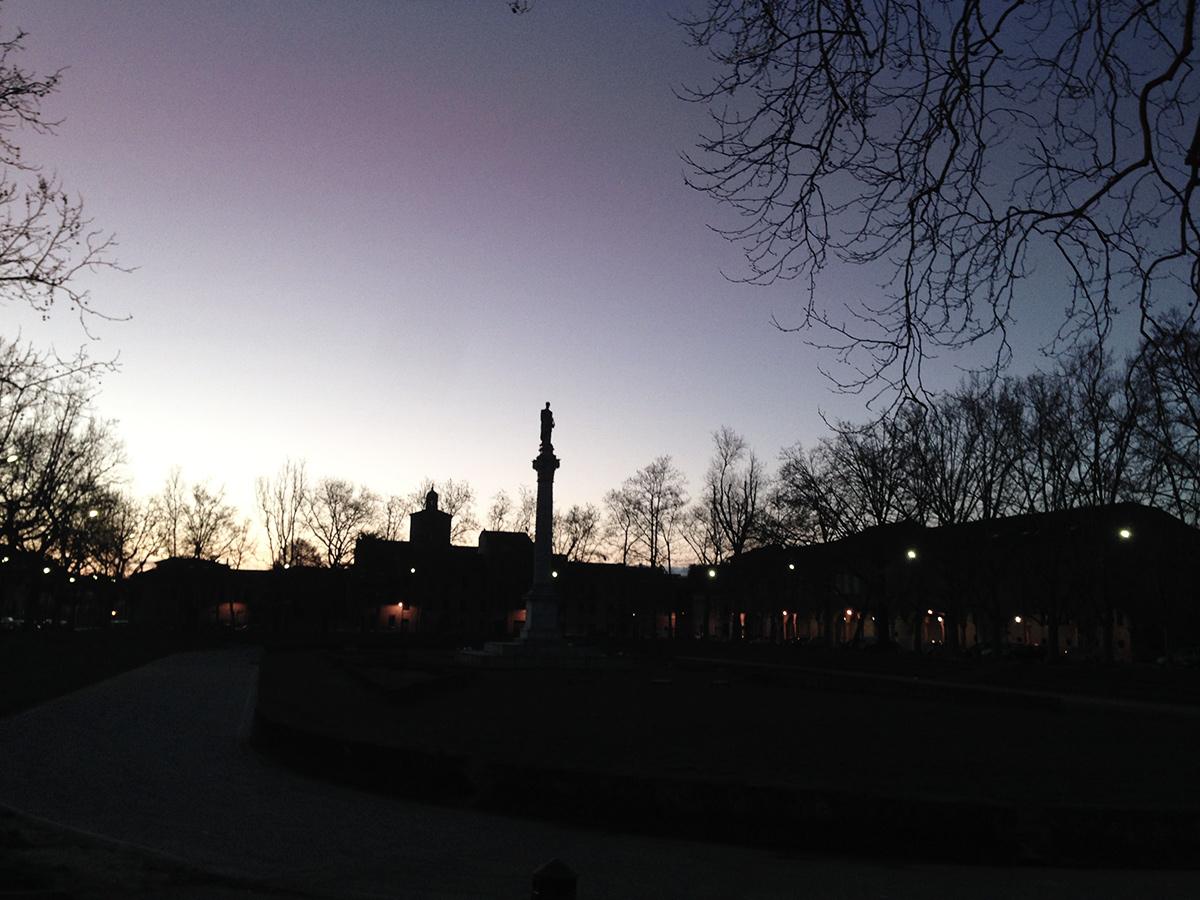 piazza ariostea at dawn