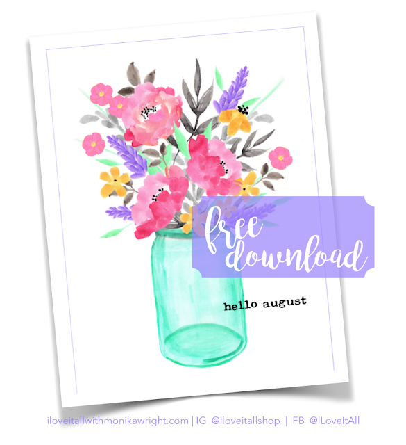 #mason jar #blue mason jar #florals #free download #instant download #printable #hello august #journali cards #junk journal supplies