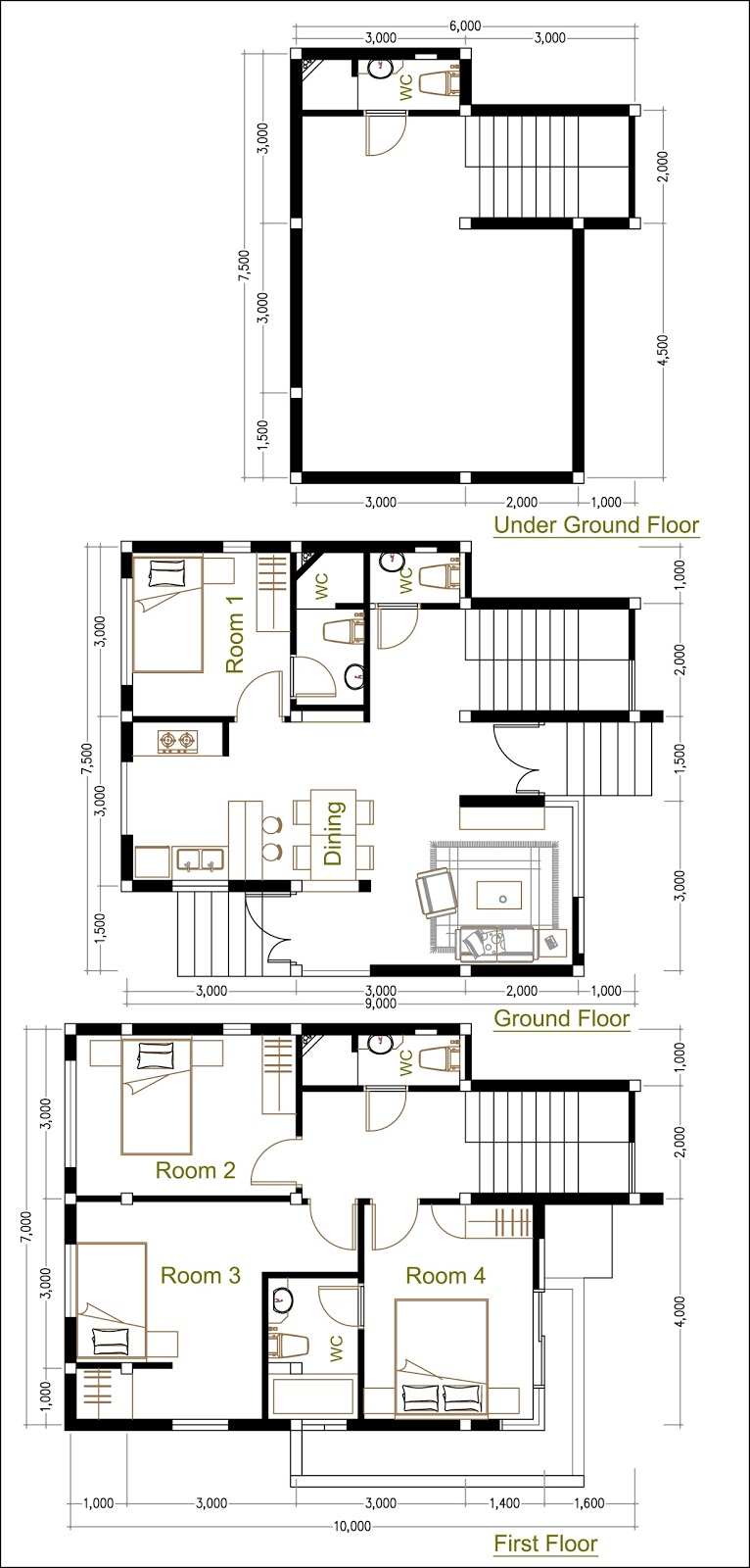 SketchUp Home Plan 7.5x9m With 4 Bedroom Home design Idea | SaM ...