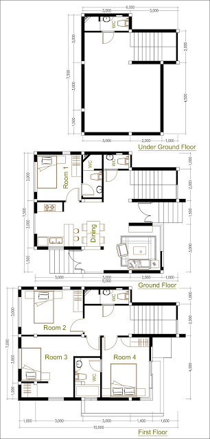 SketchUp Home Plan 7.5x9m With 4 Bedroom Home design Idea
