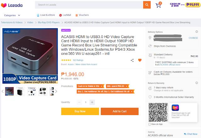 ACASIS Capture Card Current Price in Lazada