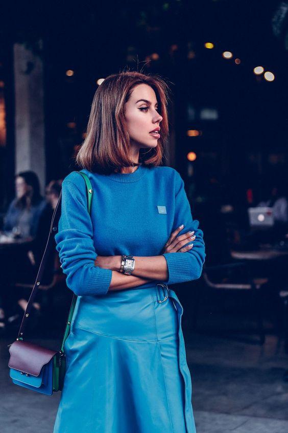 viva luxury blog pantone blue knit leather look skirt