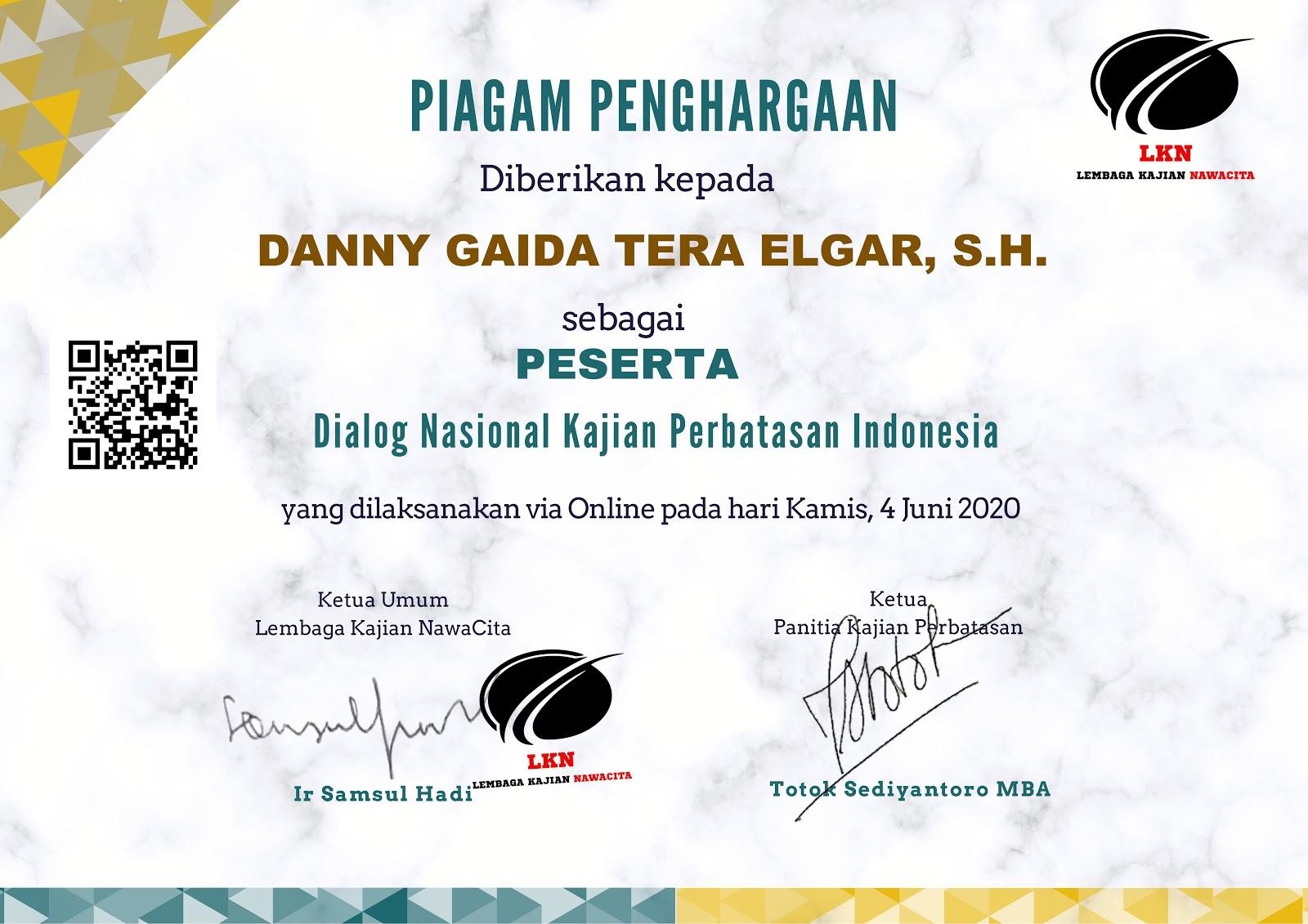 Piagam Penghargaan Dialog Nasional Kajian Perbatasan Indonesia (4 JUNI 2020)