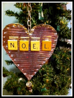tin punch ornament with scrabble letters