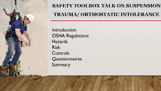 Safety Toolbox Talk on Suspension trauma/ orthostatic intolerance