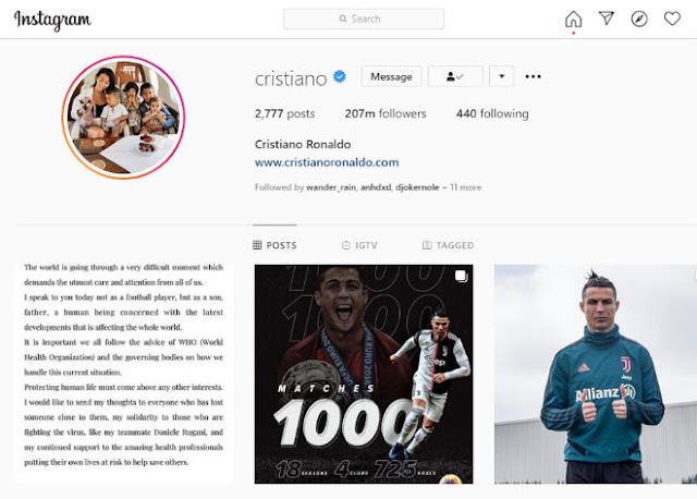 """Ronaldo ra thông điệp """"tuyên chiến"""" Covid-19, nhận """"bão like"""" từ triệu fan 3"""