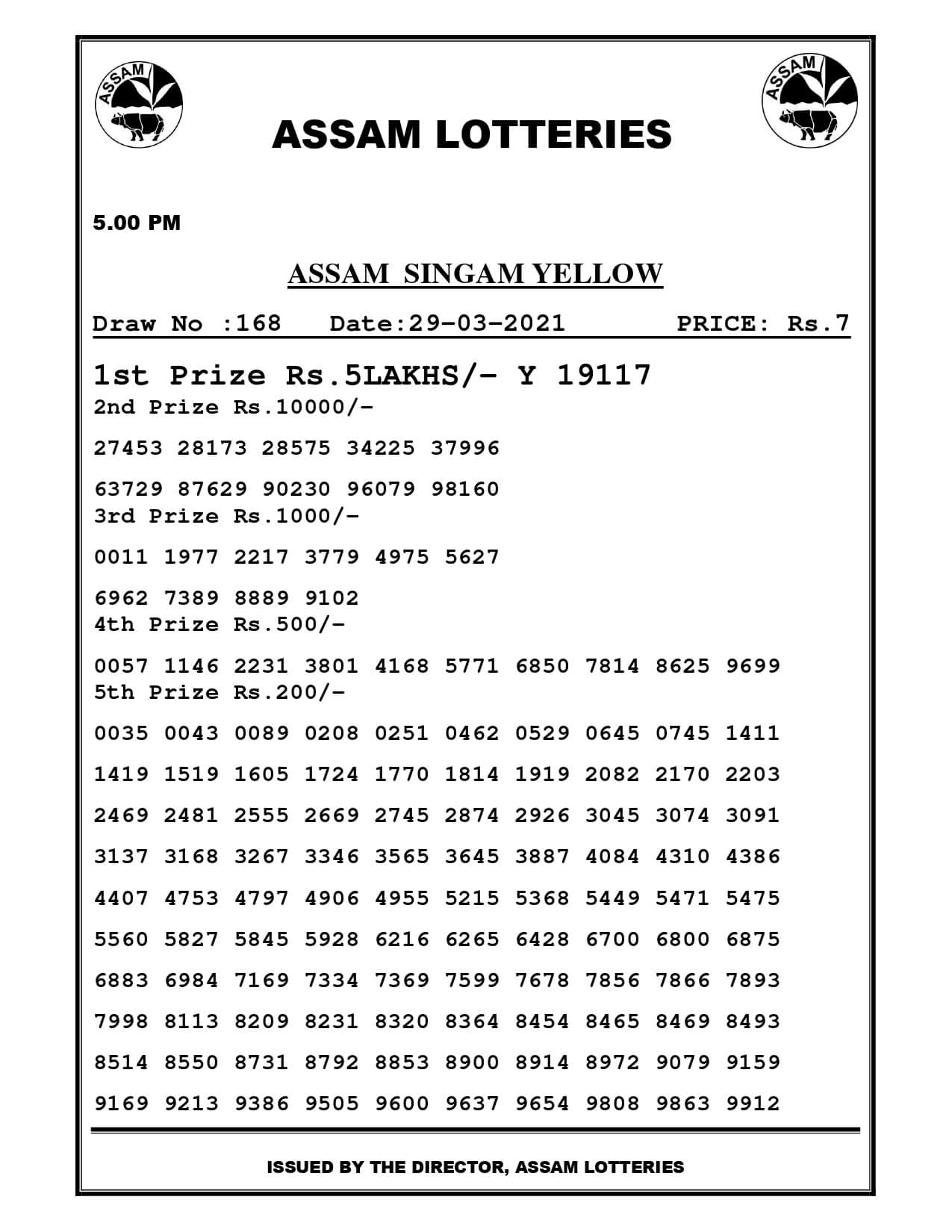 Assam Lottery Result Today 5 PM 29.3.2021