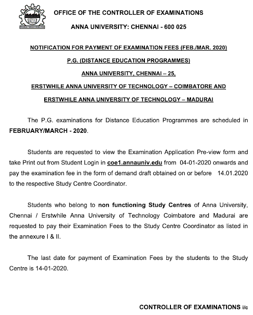 Anna University Distance Education Feb Mar 2020 Notification for Payment fee published