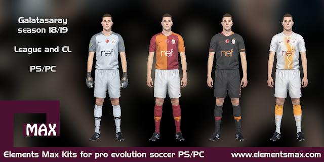 new style 45529 a7d3c Elements MAX Kits: Galatasaray PES Kits 2018/19