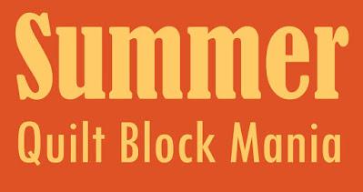 summer quilt block mania on an orange background
