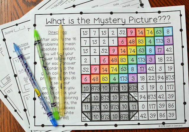 Mean Absolute Deviation (MAD) Coloring Worksheet