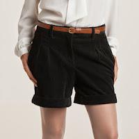 Pantaloni scurti cu manseta din catifea cu cusaturi groase femei