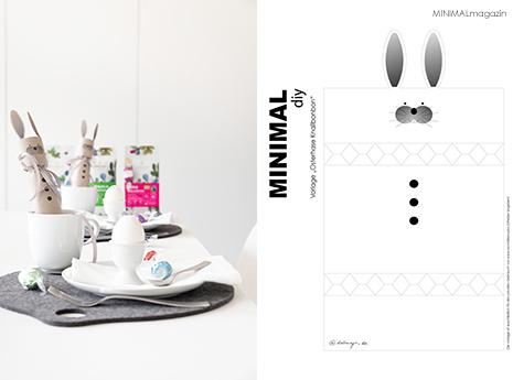 DIY Osterhase aus Papier (Knallbombom) mit süßer Füllung - Die Anleitung und die Druckvorlage findest du im MINIMALmagazin.