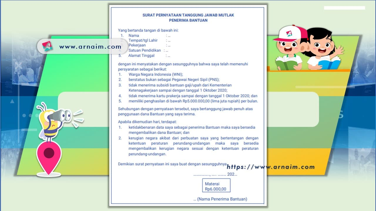 ARNAIM.COM - PENERIMA BANTUAN SUBSIDI UPAH (BSU) KEMENDIKBUD - SPTJM